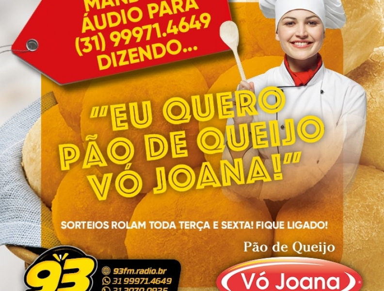 Envie mensagem de voz e concorra a 1kg de Pão de Queijo Vó Joana